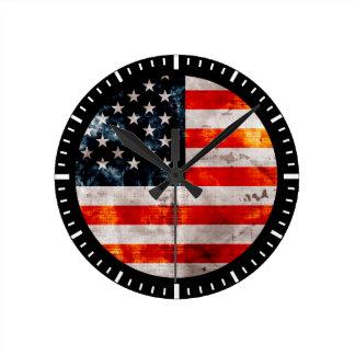 Weathered Vintage American Flag Round Clock