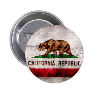 Weathered Vintage California State Flag 2 Inch Round Button