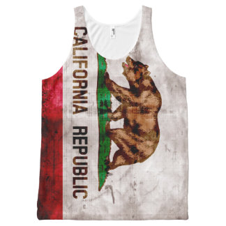 Weathered Vintage California State Flag All-Over Print Tank Top