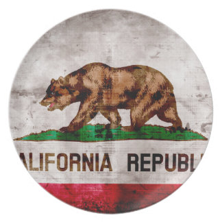 Weathered Vintage California State Flag Party Plates