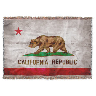 Weathered Vintage California State Flag Throw Blanket