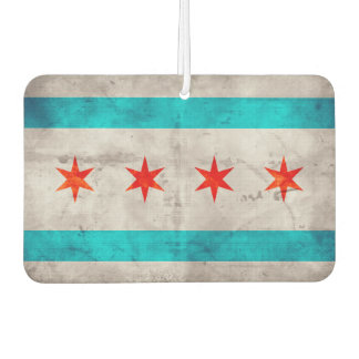 Weathered Vintage Chicago State Flag Car Air Freshener