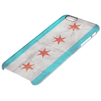 Weathered Vintage Chicago State Flag Clear iPhone 6 Plus Case