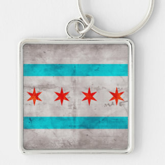 Weathered Vintage Chicago State Flag Keychain
