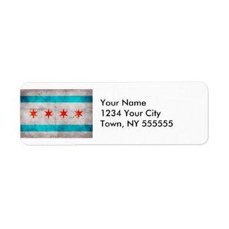 Weathered Vintage Chicago State Flag Label