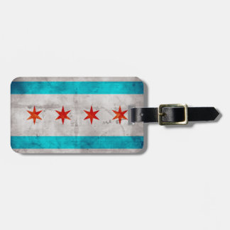 Weathered Vintage Chicago State Flag Travel Bag Tags