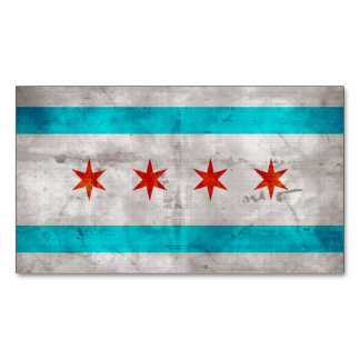 Weathered Vintage Chicago State Flag Magnetic Business Card