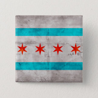 Weathered Vintage Chicago State Flag Pinback Button