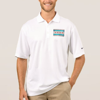 Weathered Vintage Chicago State Flag Polo Shirt