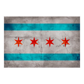 Weathered Vintage Chicago State Flag Poster