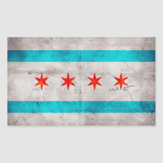 Weathered Vintage Chicago State Flag Rectangular Sticker