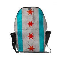 Weathered Vintage Chicago State Flag Small Messenger Bag
