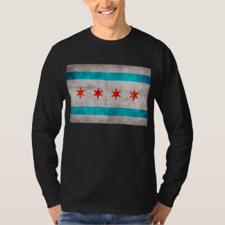 Weathered Vintage Chicago State Flag T-Shirt