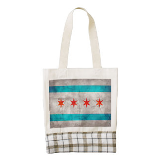 Weathered Vintage Chicago State Flag Zazzle HEART Tote Bag
