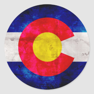 Weathered Vintage Colorado State Flag Classic Round Sticker