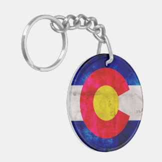 Weathered Vintage Colorado State Flag Keychain