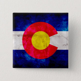 Weathered Vintage Colorado State Flag Pinback Button