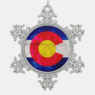 Weathered Vintage Colorado State Flag Snowflake Pewter Christmas Ornament
