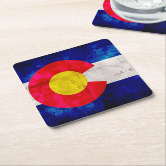 Weathered Vintage Colorado State Flag Square Paper Coaster