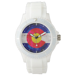 Weathered Vintage Colorado State Flag Wristwatch