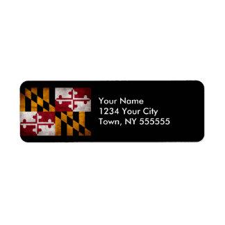 Weathered Vintage Maryland State Flag Return Address Label