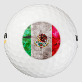Weathered Vintage Mexico Flag Golf Balls