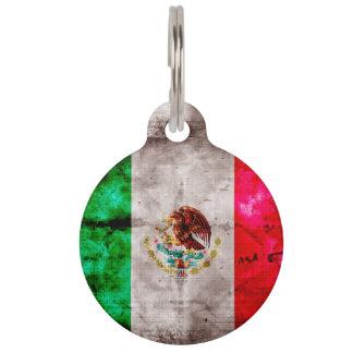 Weathered Vintage Mexico Flag Pet ID Tag