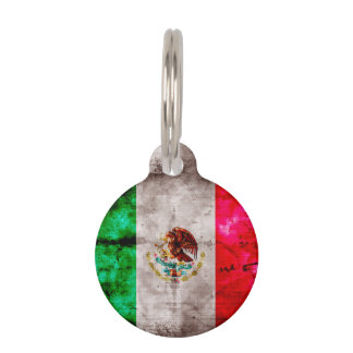 Weathered Vintage Mexico Flag Pet Name Tag