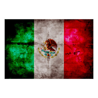 Weathered Vintage Mexico Flag Poster