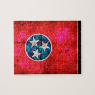 Weathered Vintage Tennessee State Flag Jigsaw Puzzle