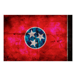 Weathered Vintage Tennessee State Flag Poster