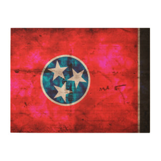 Weathered Vintage Tennessee State Flag Wood Wall Decor