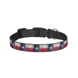 Weathered Vintage Texas State Flag Pet Collar
