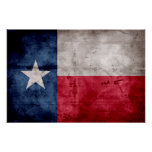 Weathered Vintage Texas State Flag Poster