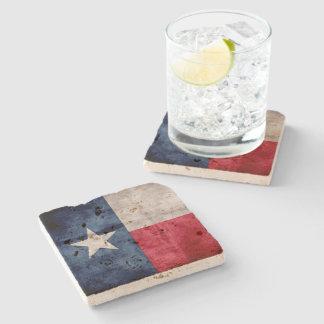 Weathered Vintage Texas State Flag Stone Coaster