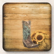 Weathered Western Country sunflower cowboy boot Beverage Coaster