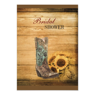 Weathered Western Country sunflower cowboy boot Card