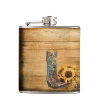 Weathered Western Country sunflower cowboy boot Flask