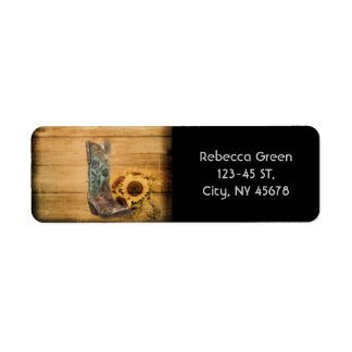 Weathered Western Country sunflower cowboy boot Label