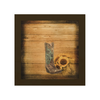 Weathered Western Country sunflower cowboy boot Wood Wall Art