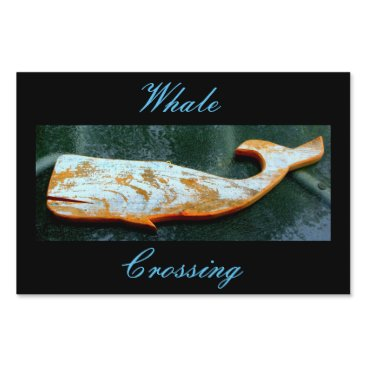 Beach Themed Weathered whale crossing Thunder_Cove black Lawn Sign