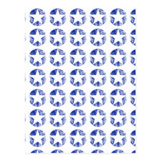 Weathered White Stars and BLue Circles Postcard
