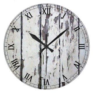 weathered white wood wall clock