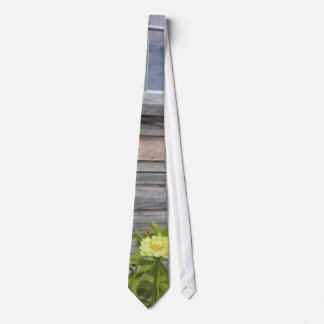 Weathered wood and Zinnias Neck Tie