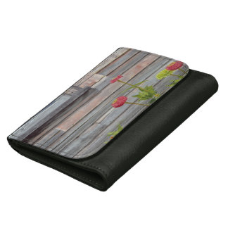 weathered wood and zinnias wallet