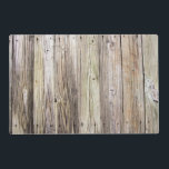 """Weathered Wood Boards with Natural Rustic Patina Placemat<br><div class=""""desc"""">Detailed photograph of weathered old boards on a dock.  Shows wood grain,  knots,  and aging in these beautiful boards that have been exposed to sun,  moisture and salt for many years. The patina of nature gives this wood a rustic appeal.</div>"""
