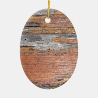 Weathered wood ceramic ornament