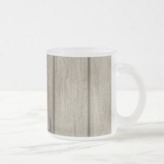 Weathered Wood Grain Pattern Frosted Glass Coffee Mug