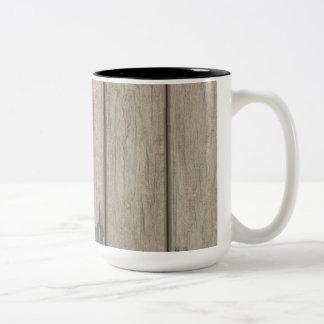 Weathered Wood Grain Pattern Two-Tone Coffee Mug