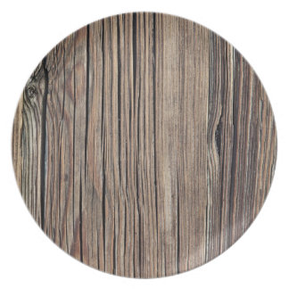 Weathered Wood Grain Plank Background Template Dinner Plate